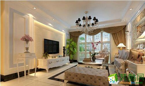客厅电视背景墙采用欧式对称造型的石膏板装饰