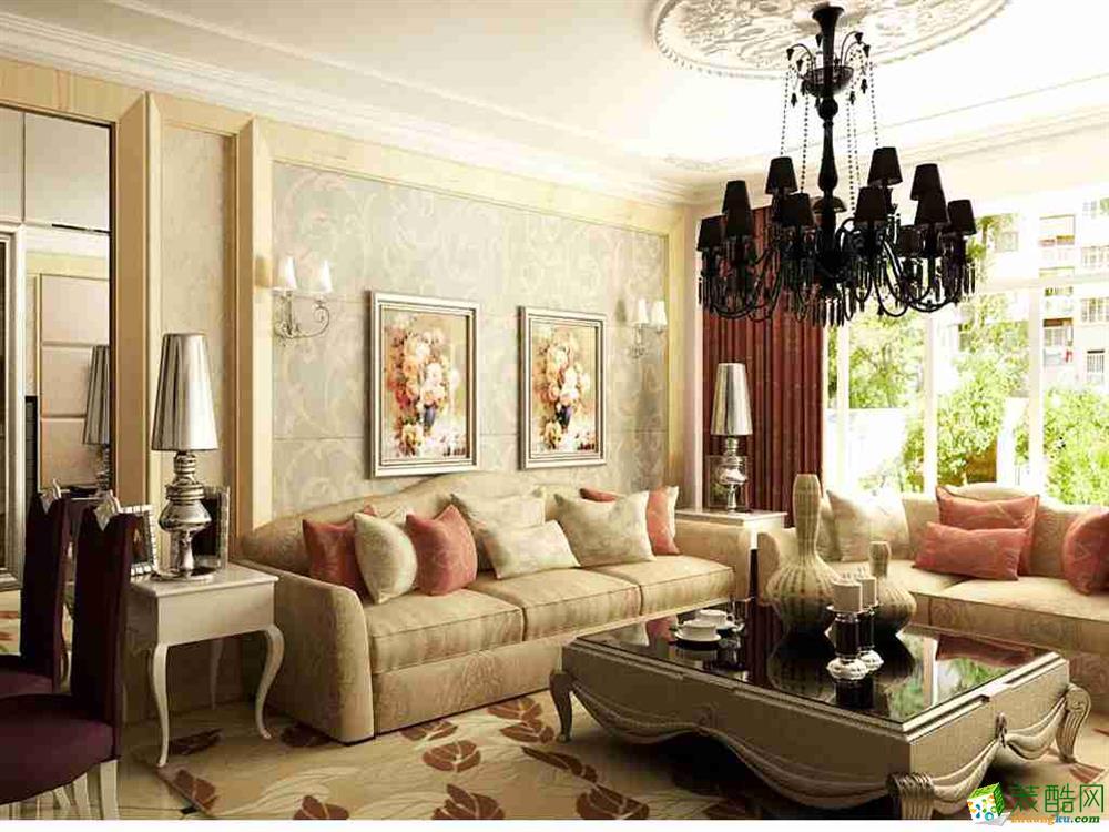 客厅 金地名京120平欧式风格装修效果图