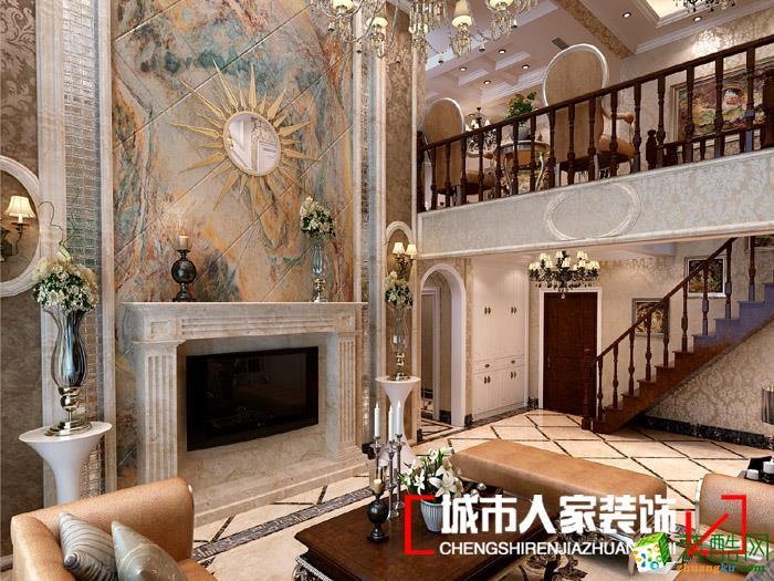 客厅 本案为秦郡2期四室两厅大户型,装修设计为简欧风格,主要使用微晶