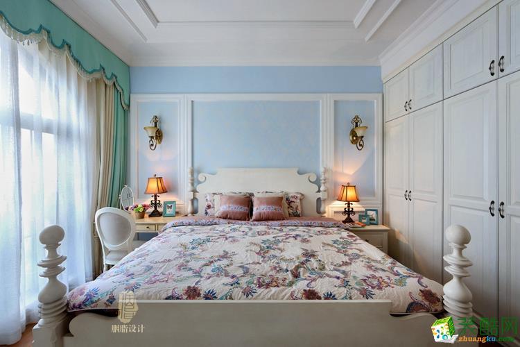 蓝色床头效果图设计效果图