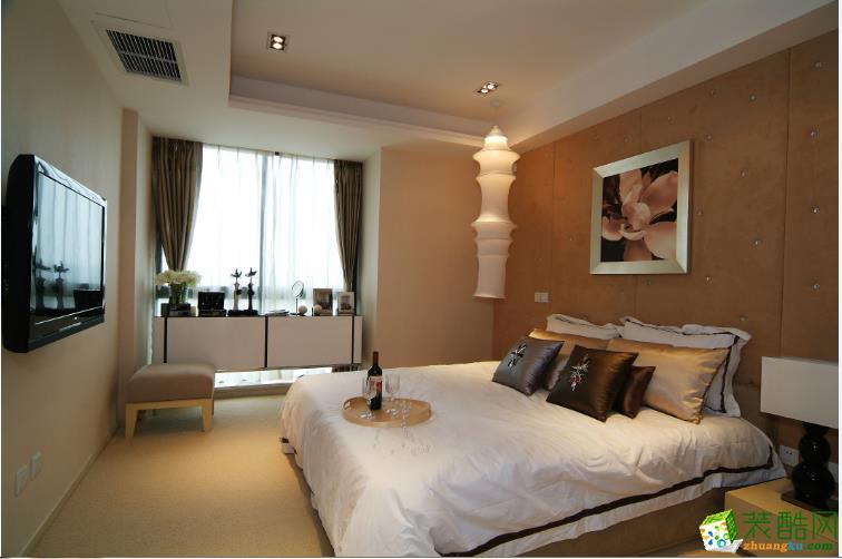 现代时尚卧室床头软包造型装修图