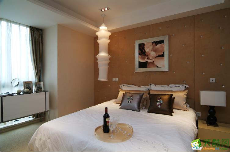 现代典雅卧室床头背景墙装修图片