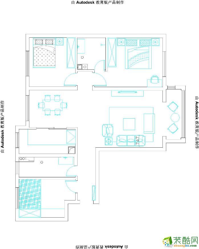 万达华宅121平现代风格三居室