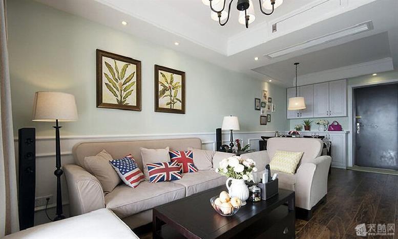 三室两厅113平美式田园风格装修效果图——沙发布局