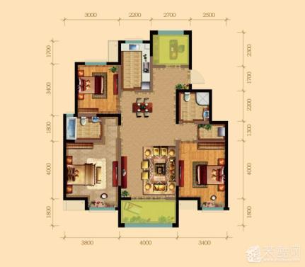 0平三居室现代美式装修效果图高清图片