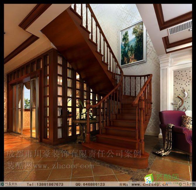 麓山國際拉佩維爾,疊拼別墅裝修,樓梯裝修圖
