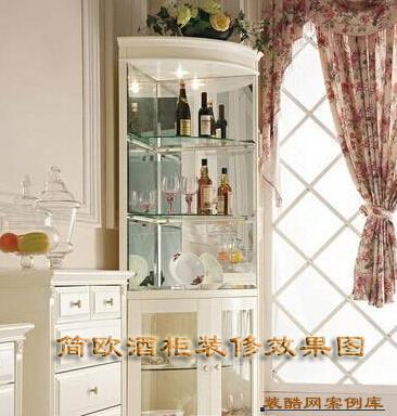 简欧酒柜装修效果图:餐厅酒柜设计要根据空间结构而定,兼具欧式浪