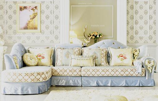 采用绒布沙发套装组合成最新款式欧式沙发