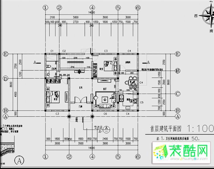 农村二层楼房设计图纸详情(施工图,设计图)