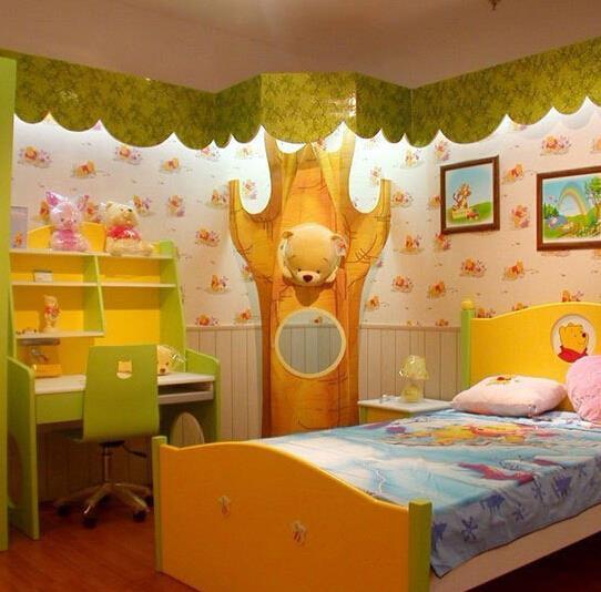 3d儿童房墙纸效果图 创意个性儿童房装修设计