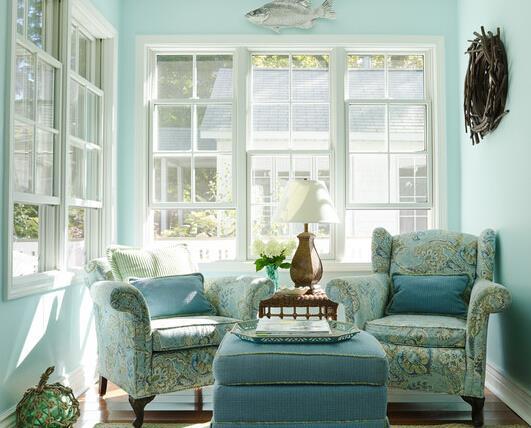 粉蓝色客厅装修效果图