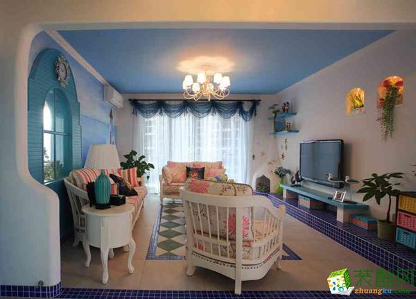 西安龙发装饰装修案例:紫御华府142平地中海风格效果图