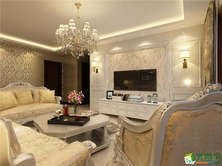 主卧地面为实木复合地板,顶面为回字形吊顶,床头背景墙用款木条做框