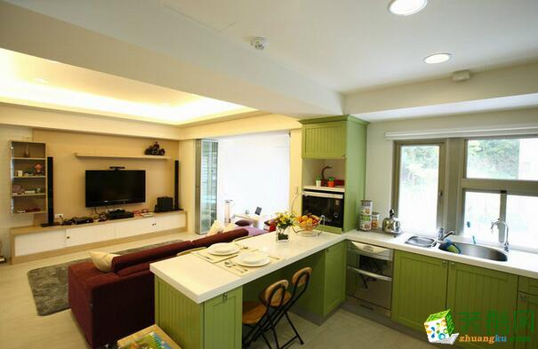 英伦风开放式厨房装修效果图