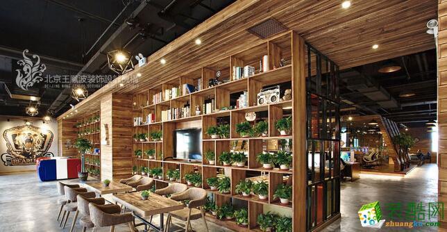 >> 时尚网咖设计soho工业风装修效果图实景,狮子熊网咖