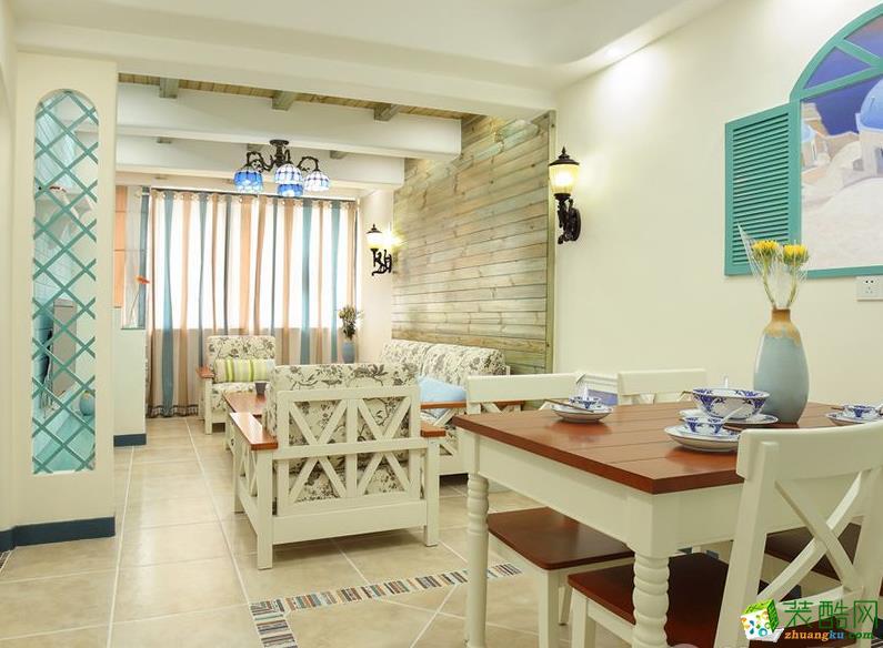 【金程缘装饰】老房改造89平休闲地中海风格设计效果图