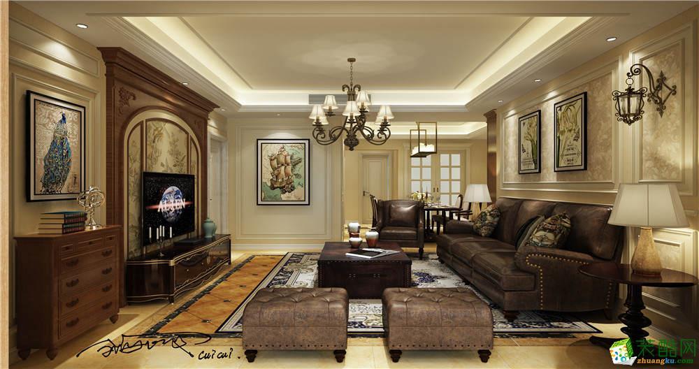 万科缇香郡洋房装修设计案例|美式古典风