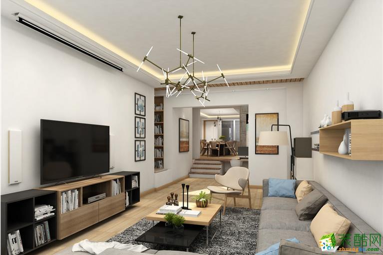 客厅【名宇装饰】100平新北欧风装修设计效果图图片
