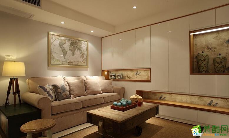 二十四城装饰样板房保利花半里三室现代简约装修效果图