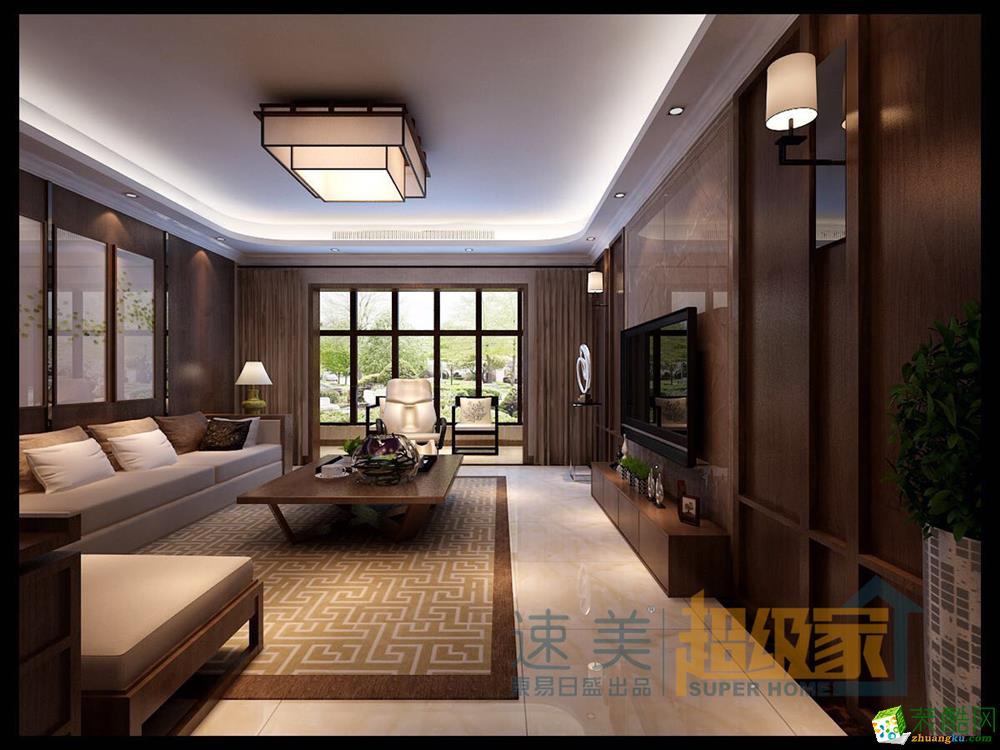新中式_中式三室两厅两卫_装酷网装修效果图图片