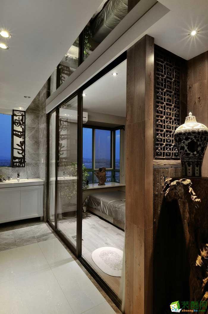 >> 成都梁柱空间装饰-现代中式130平米家装效果图