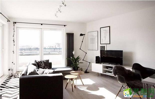 柠檬树装饰-90平黑白北欧格调公寓装修效果图