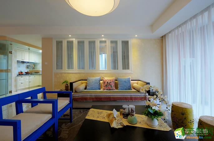 圣都装饰-120平新中式风格两居室装修设计效果图