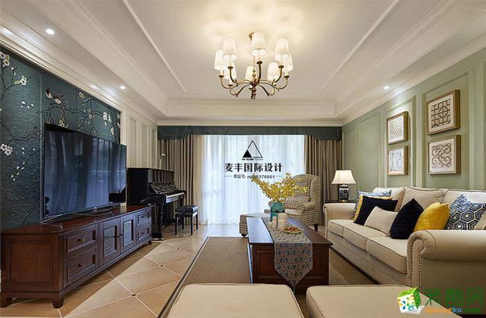 麦丰装饰-135平现代美式三居室装修效果图