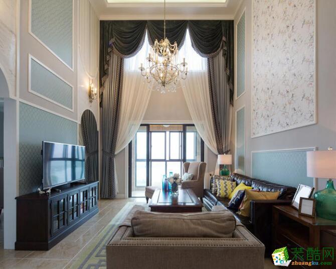 成都实创装饰-美式风格230平米别墅住宅装修案例