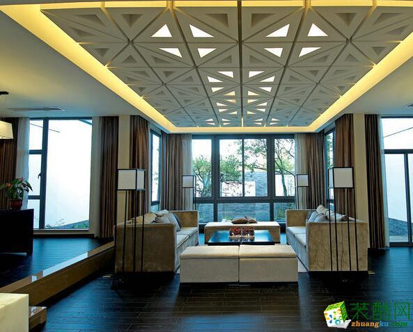成都大筑装饰-新中式风格380平米别墅住宅装修案例图
