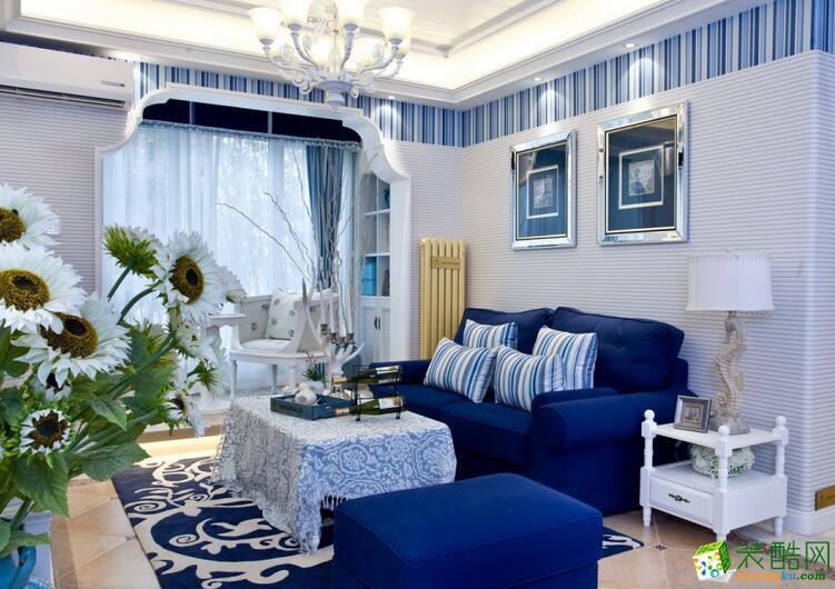 重庆三力信装饰126平地中海装修样板房 唯美蓝色