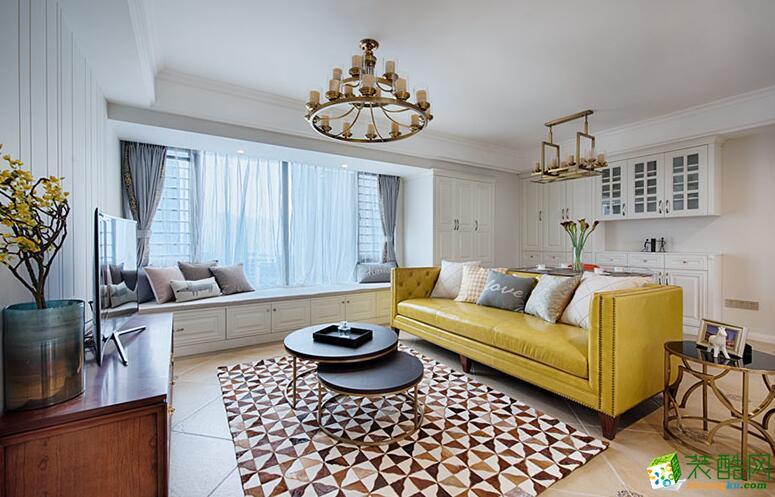 华乔装饰-美式风格三居室102平米装修案例图