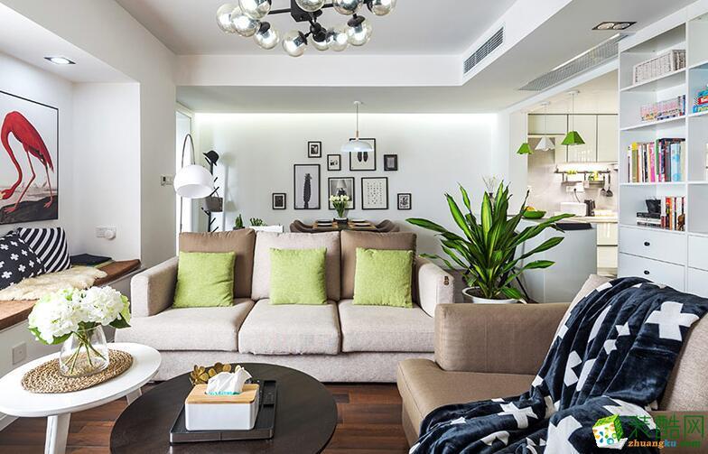 亿安居装饰-北欧风格三居室90平米装修案例图