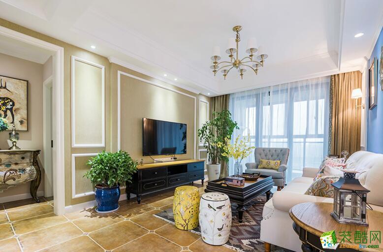 慕尚装饰-93平米混搭风格三居室装修案例图