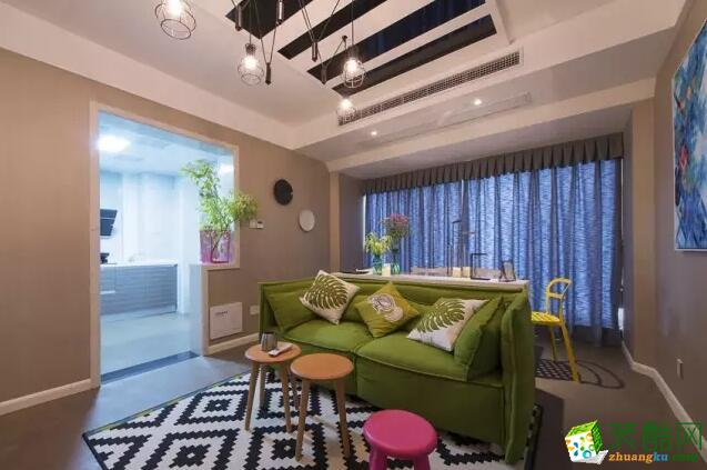 美信装饰-60平米两居室混搭风格装修案例图