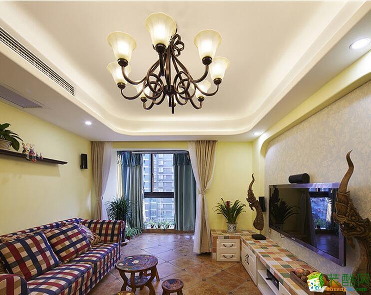 高度国际装饰-99平米三居室田园风格装修案例图