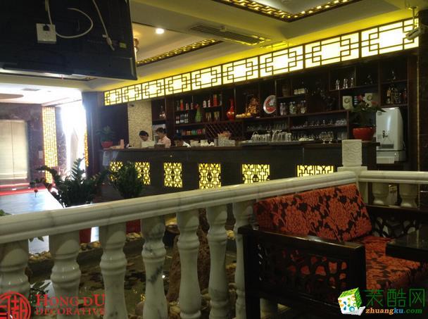 长沙红都装饰-现代中式高桥心情茶餐厅装修效果图