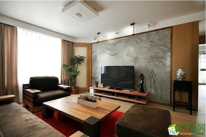 【峰淘装饰】124平米三居室混搭风格装修案例