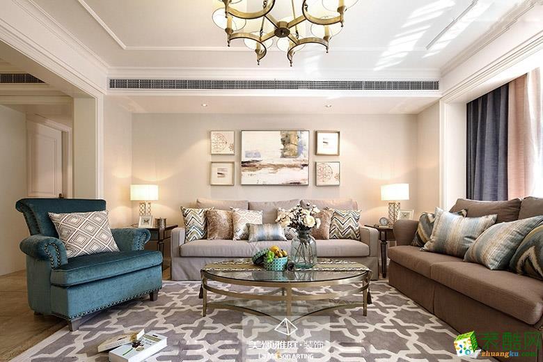 客厅  _****_装饰―焦糖玛奇朵220平美式风格装修案例