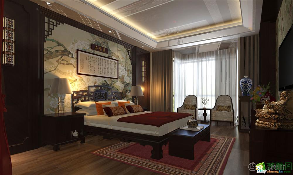 西安苹果装饰-中式两居室装修效果图