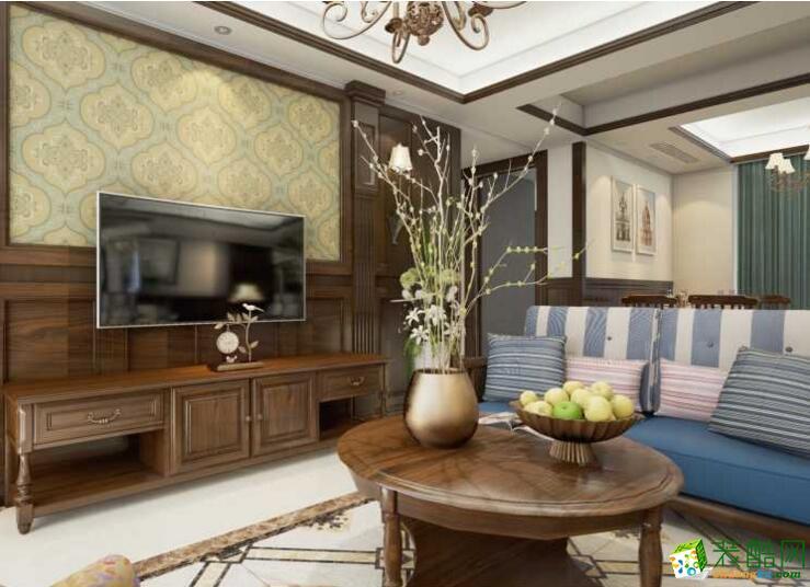【玉玲珑装饰】美式风格三居室90平米装修案例图