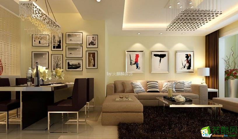 兰亭御湖城93平米现代简约二居室装修效果图