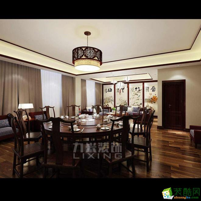 力興裝飾—天津600㎡新中式飯店餐飲裝修