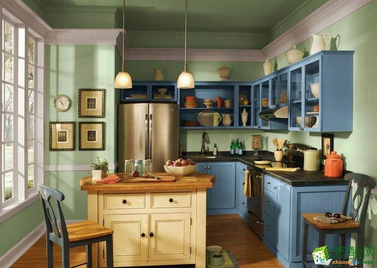 80平米都市小清新風格開放式廚房裝修效果圖賞析