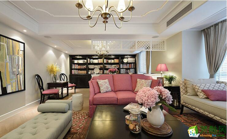 天海饰家装饰―长江紫都133平美式小清新风格案例