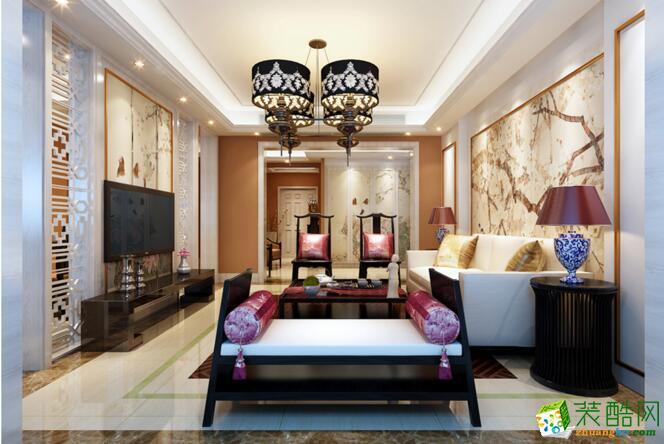 【�B鸿居装饰】103平米新中式风格两居室装修案例