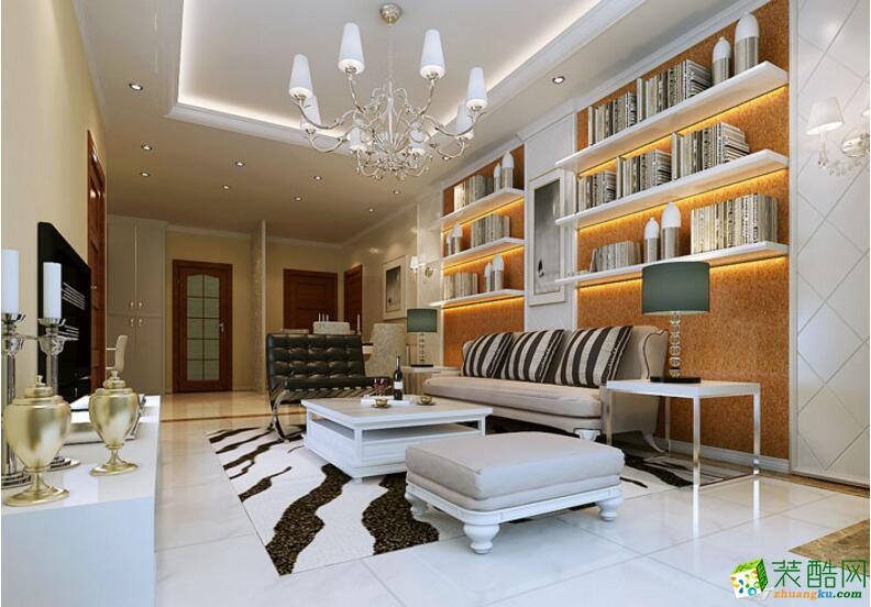 【美德装饰】现代两居室81平米装修案例图