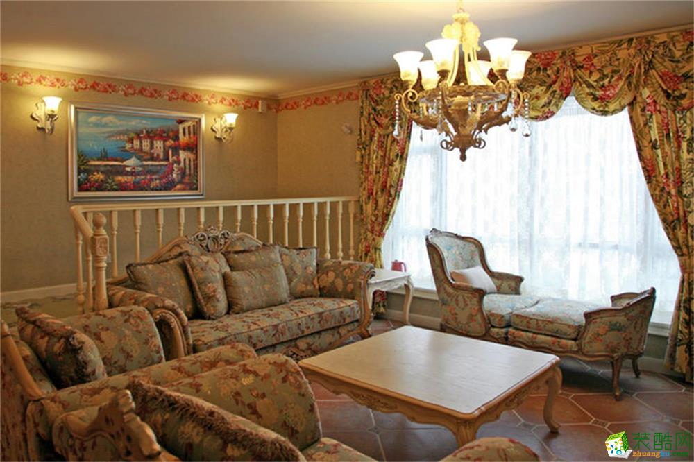 阳光维多利亚 美式田园客厅装修效果图