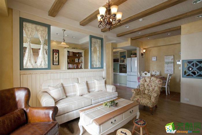 长沙苹果装饰-美式三居室装修效果图_美式风格-三室两厅两卫