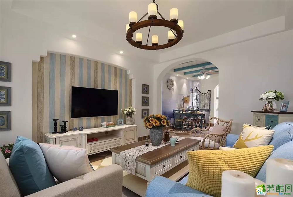 90平地中海风两居室装修效果图